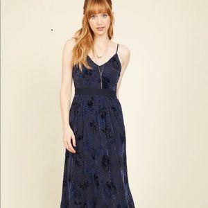 ModCloth Navy Velvet Maxi Dress